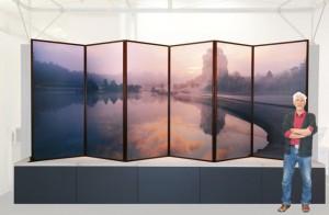 屏風(高さ1.8m、幅5.4m、アルミ複合版に印刷)