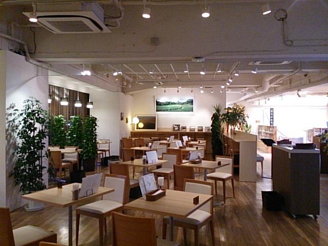 ウッド基調の店内に鮮やかな緑がよく映えます